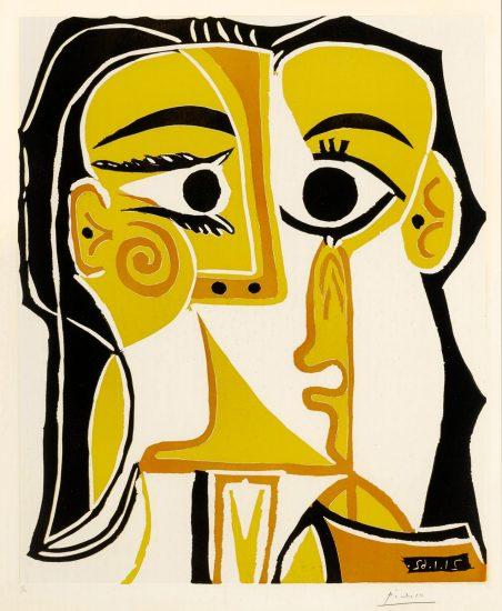 Pablo Picasso Linocut, Portrait stylise de Jacqueline (Tete de Femme) (Stylized portrait of Jacqueline (Head of a Woman)), 1962