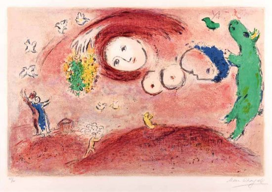 Marc Chagall Lithograph, Printemps au Pré (Spring in the Meadow), from Daphnis et Chloé, 1961