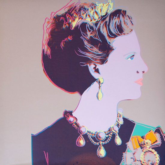 Andy Warhol Screen Print, Queen Margrethe II of Denmark, 1985 Unique Screenprint