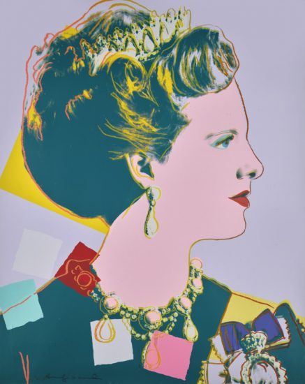 Andy Warhol Screen Print, Queen Margrethe II of Denmark from the Reigning Queens Royal Edition with Diamond Dust of 1985