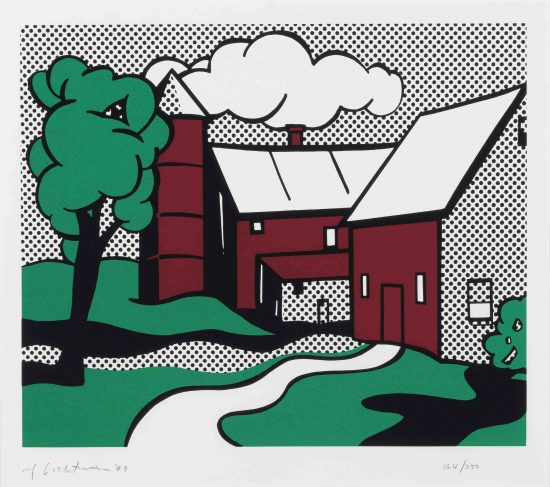 Roy Lichtenstein Screen Print, Red Barn, 1969, C.89