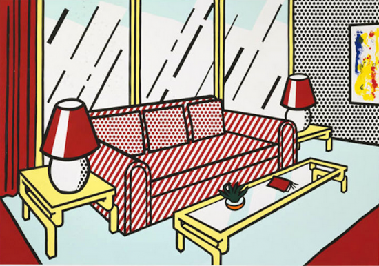Roy Lichtenstein Lithograph, Red Lamps, 1990