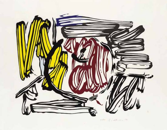 Roy Lichtenstein Lithograph, Red & Yellow Apple, 1983