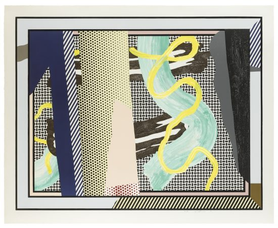 Roy Lichtenstein Screen Print, Reflections on Brushstrokes, from the Reflections Series, 1990