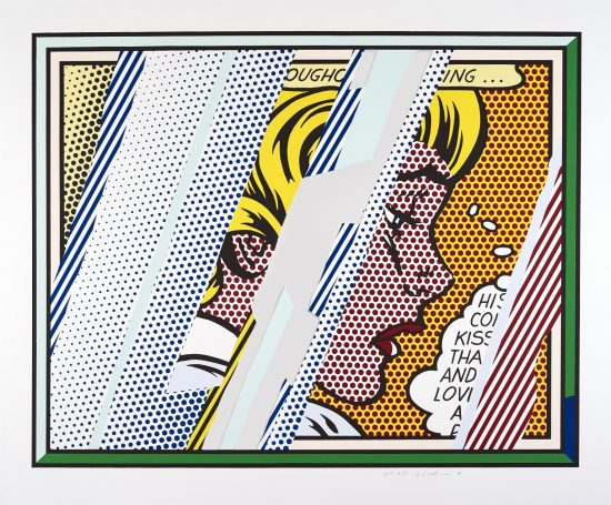 Roy Lichtenstein Lithograph, Reflections on Girl, 1990