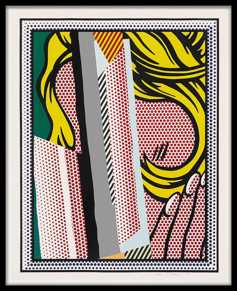 roy-lichtenstein-screenprint-reflections-on-hair-1990-black-frame
