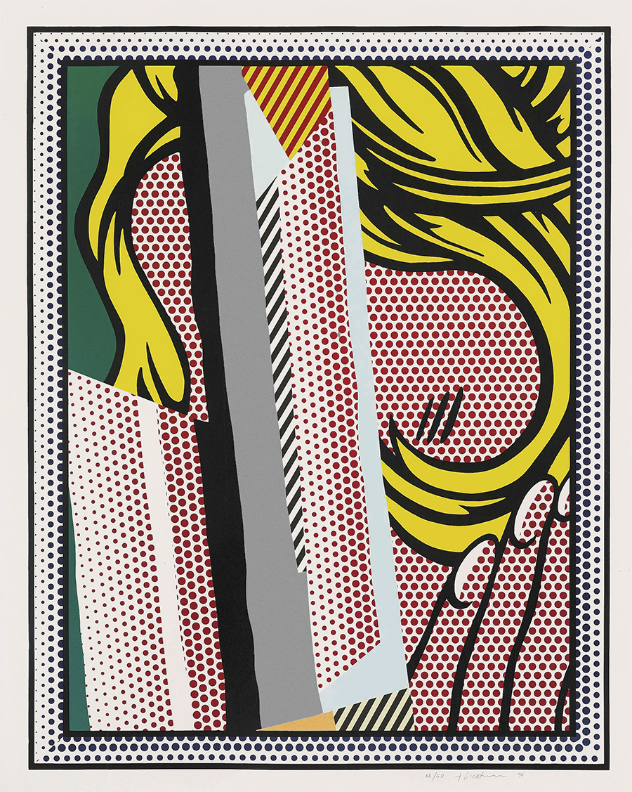 roy-lichtenstein-screenprint-reflections-on-hair-1990-for-sale (image 1)