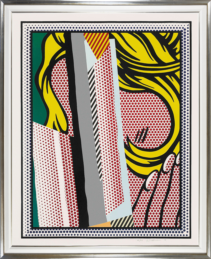 roy-lichtenstein-screenprint-reflections-on-hair-1990-frame-silver