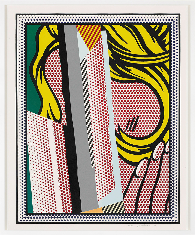 roy-lichtenstein-screenprint-reflections-on-hair-1990-frame-white