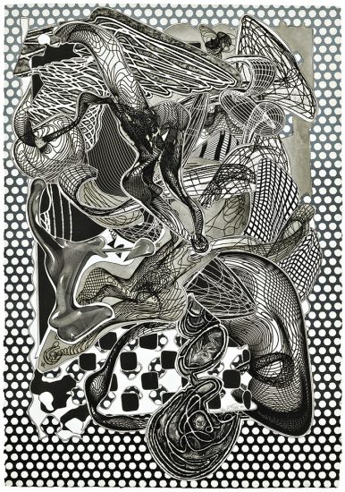 Frank Stella Screen Print, Riallaro (Black and White), from Imaginary Places Series, 1995