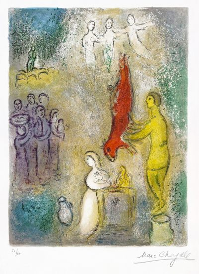 Marc Chagall Lithograph, Sacrifice aux Nymphes (Sacrifices Made to the Nymphs), 1961