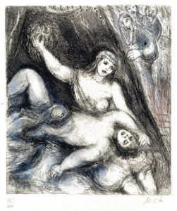 Marc Chagall Etching, Samson and Delilah (from the Bible Series), 1958