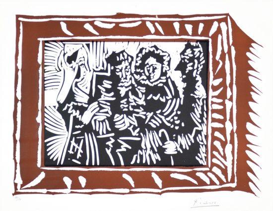 Pablo Picasso Linocut, Scene Familiale (Family Scene), 1962