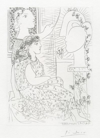 Pablo Picasso Lithograph, Deux Femmes Regardant une Tete Sculptée (Two Women looking at a Sculpture Head) from the Vollard Suite, 1933