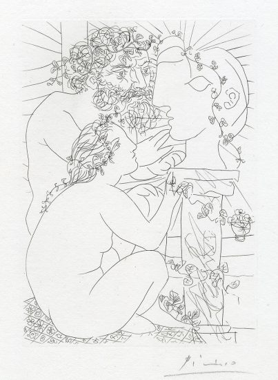 Pablo Picasso Etching, Sculpteur Avec Son Modele, Sa Sculpture Et Un Bol D'Anemones (Sculptor with His Model, His Sculpture, and a Bowl of Anemones) from the Vollard Suite, 1933