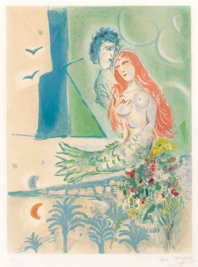 Marc Chagall Lithograph, Sirène au poète (Siren with Poet), from Nice and the Côte d'Azur, 1967