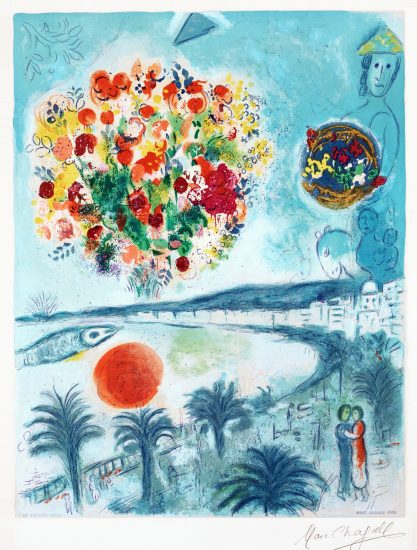Marc Chagall Lithograph, Soleil Couchant (Sunset), from Nice and The Côte d'Azur, 1967
