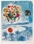 Marc Chagall Lithograph, Soleil Couchant (Sunset), from Nice and The Côte d'Azur 1967