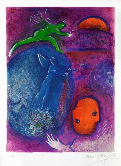 Marc Chagall Lithograph, Songe de Lamon et de Dryas (Dream of Lamon and Dryas), from Daphnis et Chloé, 1961