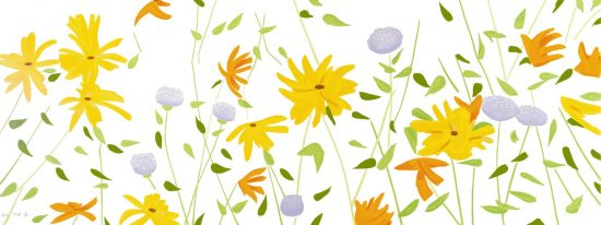 Alex Katz Silkscreen, Summer Flowers, 2018