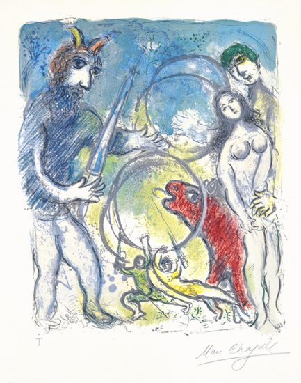 Marc Chagall Lithograph, Sur la Terre des Dieux (In the Land of the Gods): Anacreon, 1967