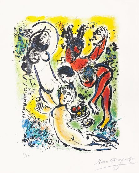 Marc Chagall Lithograph, Sur la Terre des Dieux (In the Land of the Gods): Theocritus, 1967