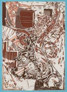 Frank Stella Etching, Swan Engraving Framed II, 1984