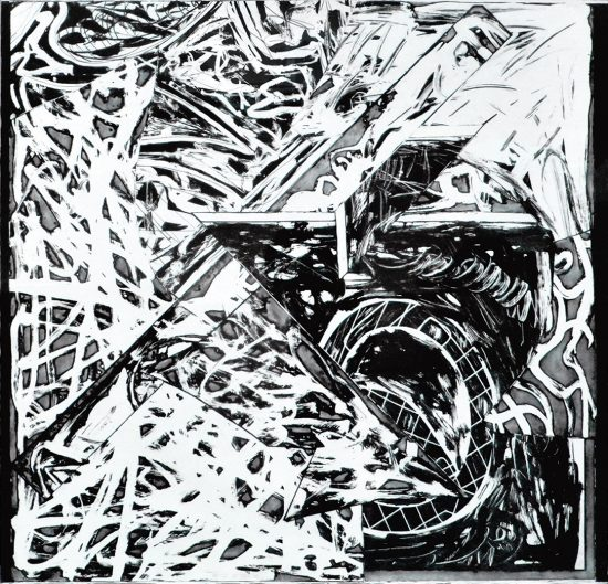Frank Stella Lithograph, Swan Engraving Square III, 1982
