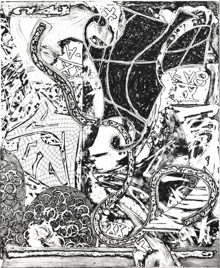 Frank Stella Etching, Swan Engraving V, 1982