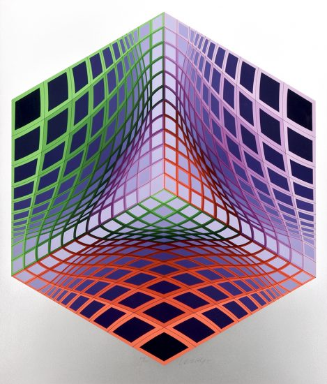 Victor Vasarely Lithograph, Test Tarka, 1990