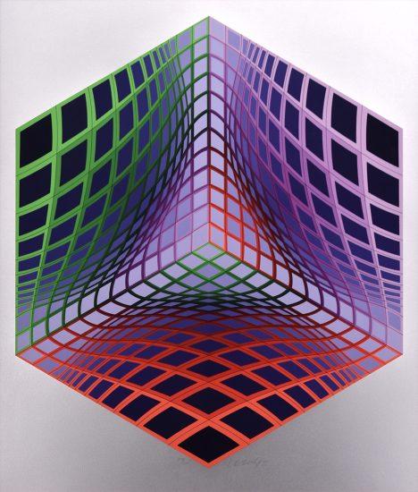 Victor Vasarely Serigraph, Test Tarka, 1990