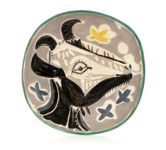 Pablo Picasso Ceramic, Tête de chèvre de profil (Goat's Head in Profile), 1952 A.R. 151
