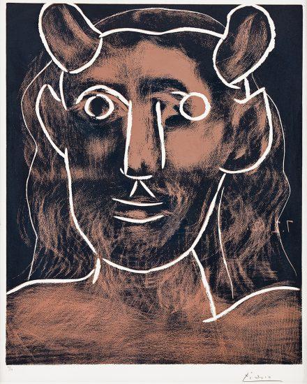Pablo Picasso Linocut, Tête de faune (Faun's Head), 1962