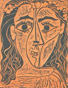 Pablo Picasso Ceramic, Tête de femme à la couronne de fleurs (Woman's Head with Crown of Flowers), 1964, A.R. 522