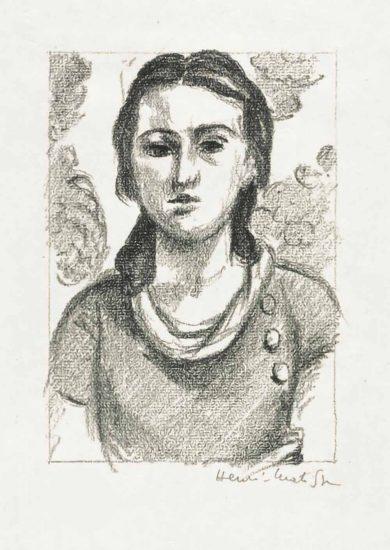 Henri Matisse Lithograph, Tête de jeune fille (Head of Young Girl) 1925