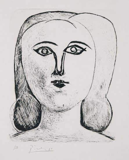 Pablo Picasso Lithograph, Tête de jeune fille (Head of young girl), 1946