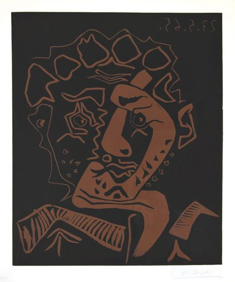 Pablo Picasso Lithograph, Tete d'Histrion (Head of an Actor), 1965