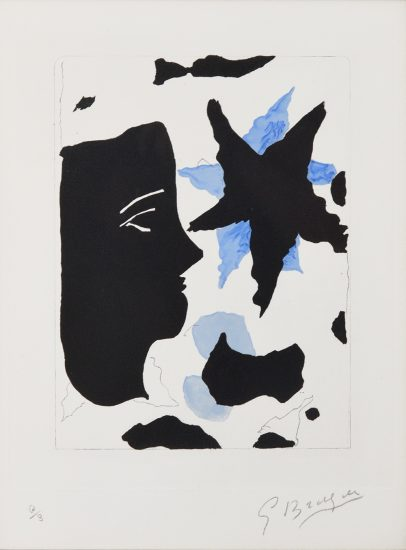 Georges Braque Lithograph, Téte en profil e l'étoile (Head in Profile and Star), 1960