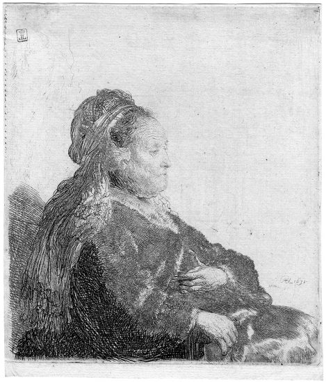 Rembrandt Lithograph, The Artist's Mother Seated, in an Oriental Headdress: Half Length, 1631