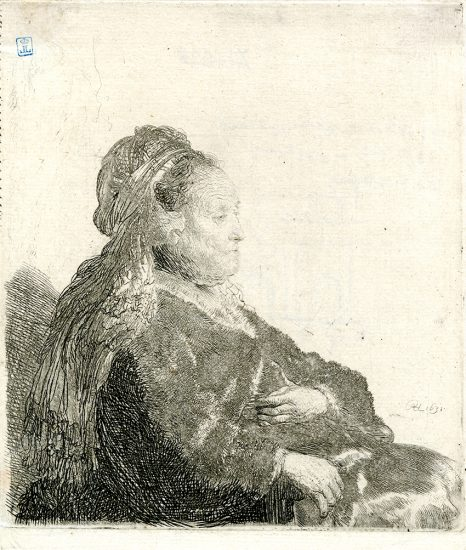 Rembrandt Etching, The Artist's Mother Seated, in an Oriental Headdress: Half Length, 1631