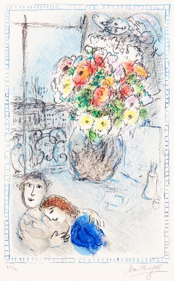 Marc Chagall Lithograph, The Buttercups, 1973
