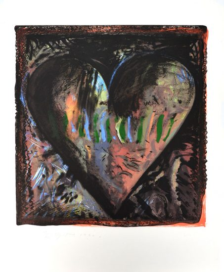Jim Dine Silkscreen, The Hand-Colored Viennese Hearts II (from the Hand Colored Viennese Hearts Portfolio), 1990