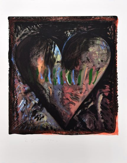 Jim Dine Lithograph, The Hand-Colored Viennese Hearts II (from the Hand Colored Viennese Hearts Portfolio), 1990
