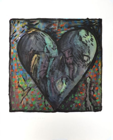 Jim Dine Lithograph, The Hand-Colored Viennese Hearts VI (from the Hand Colored Viennese Hearts Portfolio), 1990