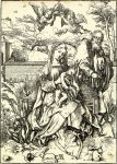 Albrecht Dürer Woodcut, The Holy Family with the Three Hares, c. 1496