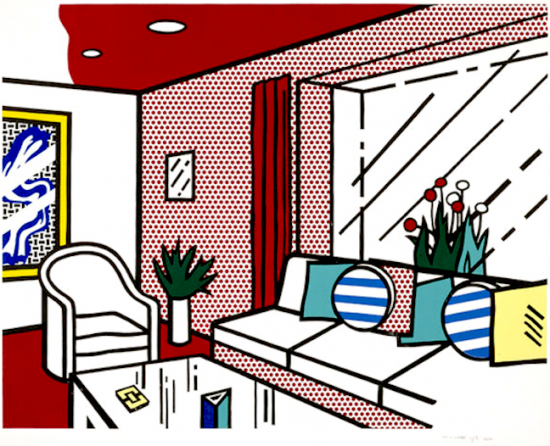 Roy Lichtenstein Woodcut, The Living Room, 1990