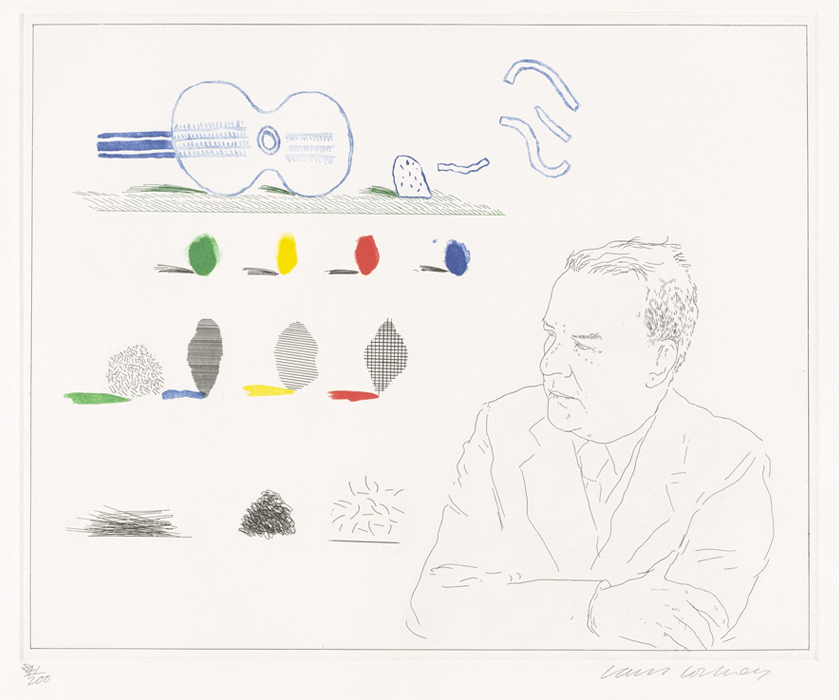 Hockney Etching The Poet, 13, from the Blue Guitar, 1976-1977 for sale