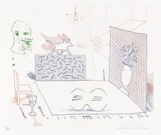David Hockney Etching, Discord Merely Magnifies, 7, from The Blue Guitar, 1976-1977