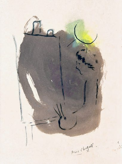 Marc Chagall Lithograph, L'Artiste au Chevalet (The Artist at the Easel), 1953