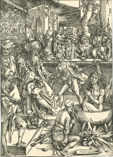 Albrecht Dürer Woodcut, The Torture of St. John the Evangelist from The Apocalypse, The Latin Text Edition of 1498